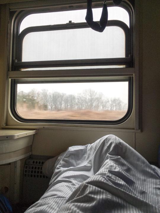 Bett im Schlafwagen von Danzig nach Jelenia Gora