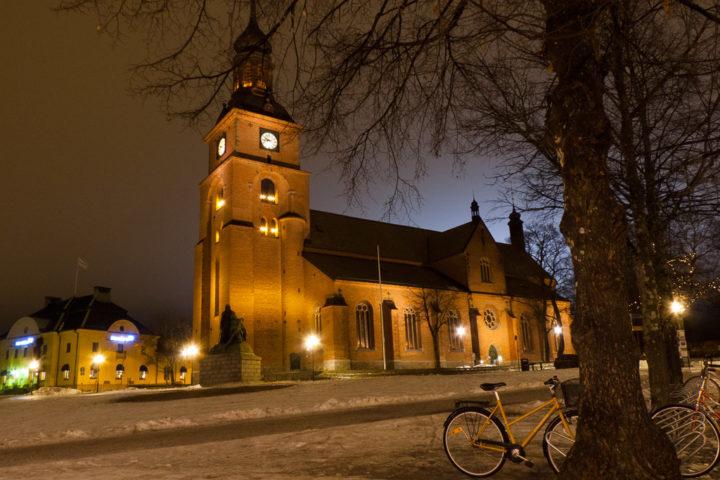 Kristine-Kirche in Falun bei Nacht